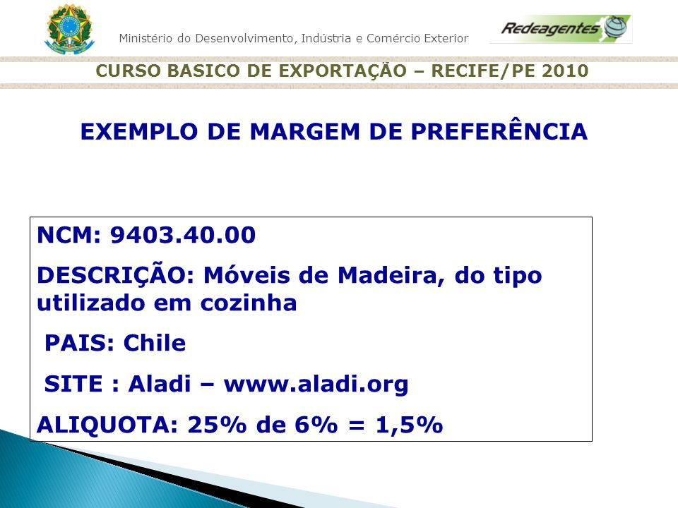 Ministério do Desenvolvimento, Indústria e Comércio Exterior CURSO BASICO DE EXPORTAÇÃO – RECIFE/PE 2010 EXEMPLO DE MARGEM DE PREFERÊNCIA NCM: 9403.40