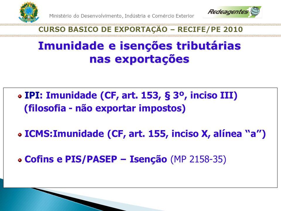 Ministério do Desenvolvimento, Indústria e Comércio Exterior CURSO BASICO DE EXPORTAÇÃO – RECIFE/PE 2010 IPI: Imunidade (CF, art. 153, § 3 º, inciso I