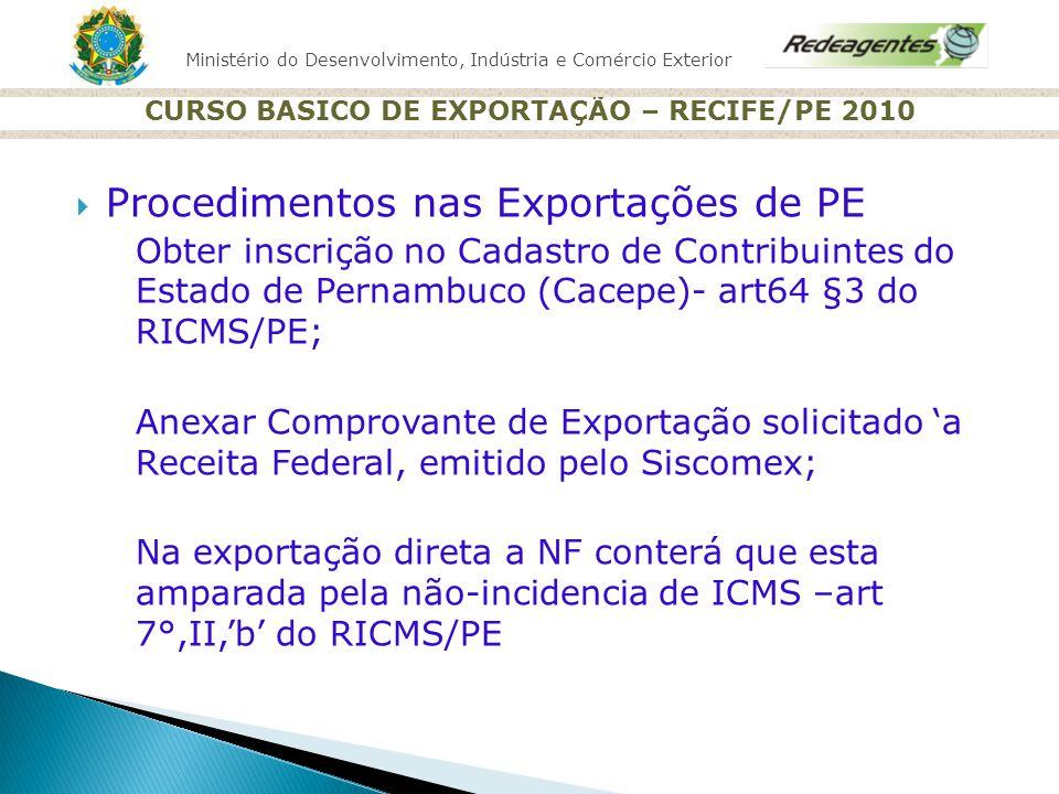 Ministério do Desenvolvimento, Indústria e Comércio Exterior CURSO BASICO DE EXPORTAÇÃO – RECIFE/PE 2010 Procedimentos nas Exportações de PE Obter ins