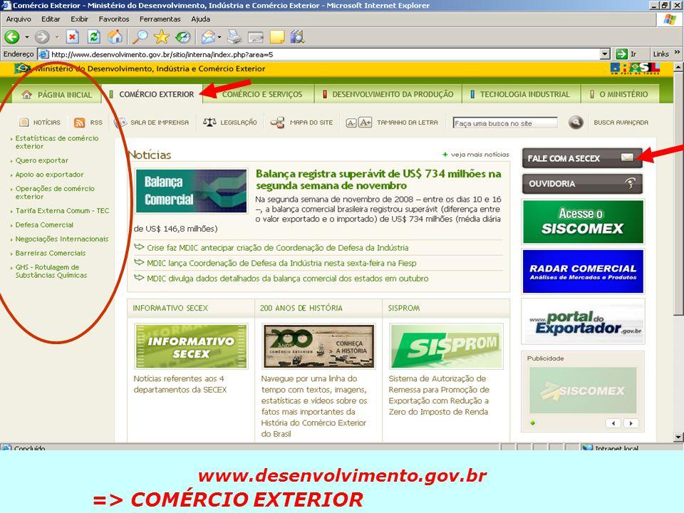 Ministério do Desenvolvimento, Indústria e Comércio Exterior CURSO BASICO DE EXPORTAÇÃO – RECIFE/PE 2010 www.desenvolvimento.gov.br => COMÉRCIO EXTERI