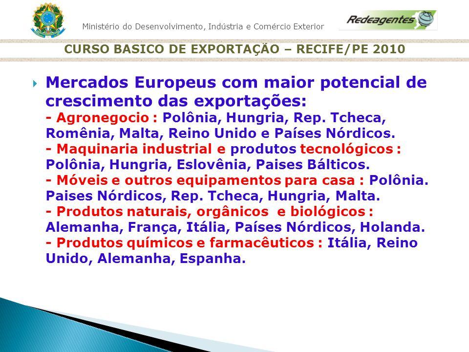 Ministério do Desenvolvimento, Indústria e Comércio Exterior CURSO BASICO DE EXPORTAÇÃO – RECIFE/PE 2010 Mercados Europeus com maior potencial de cres