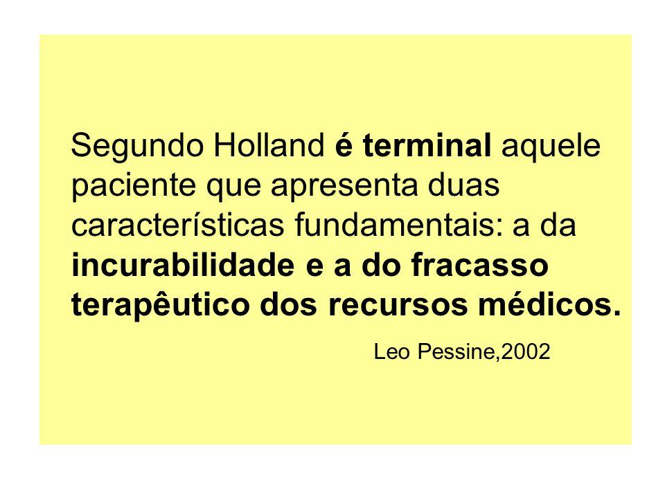 Segundo Holland é terminal aquele paciente que apresenta duas características fundamentais: a da incurabilidade e a do fracasso terapêutico dos recurs