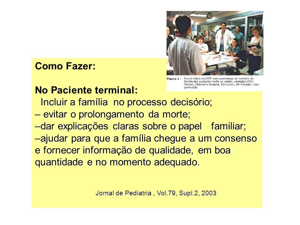 Como Fazer: No Paciente terminal: Incluir a família no processo decisório; – evitar o prolongamento da morte; –dar explicações claras sobre o papel fa