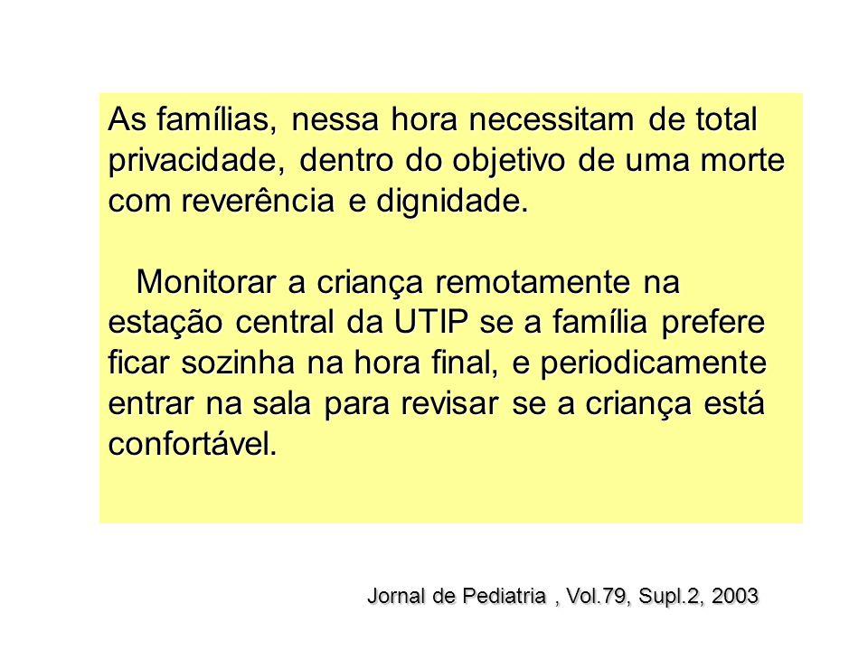 Jornal de Pediatria, Vol.79, Supl.2, 2003 As famílias, nessa hora necessitam de total privacidade, dentro do objetivo de uma morte com reverência e di
