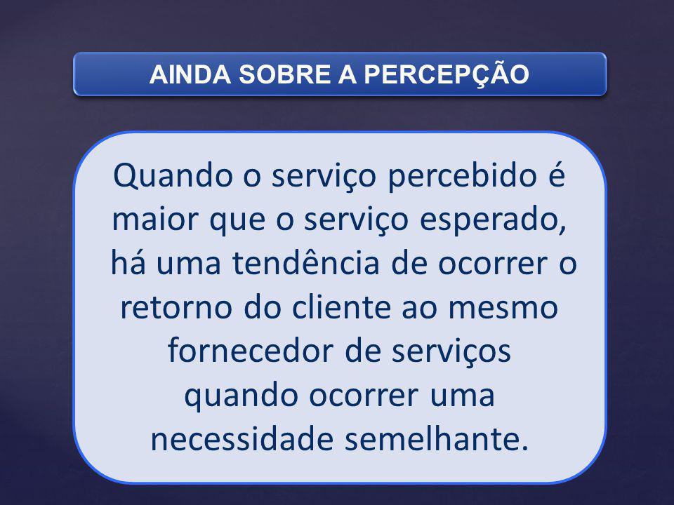 Quando o serviço percebido é maior que o serviço esperado, há uma tendência de ocorrer o retorno do cliente ao mesmo fornecedor de serviços quando ocorrer uma necessidade semelhante.