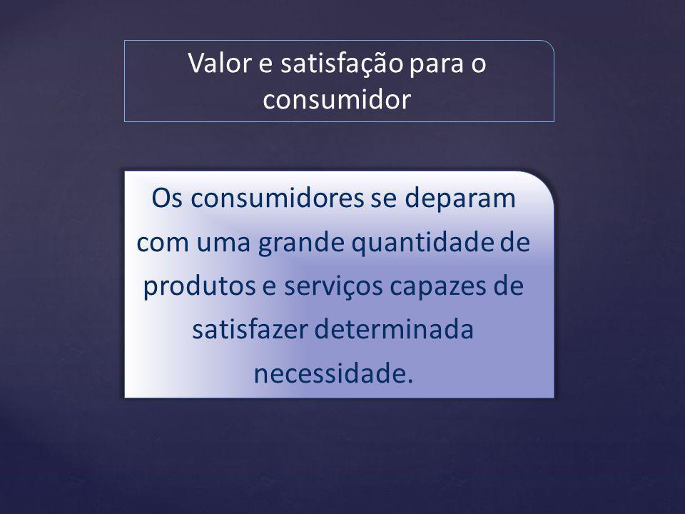 Valor e satisfação para o consumidor Os consumidores se deparam com uma grande quantidade de produtos e serviços capazes de satisfazer determinada necessidade.