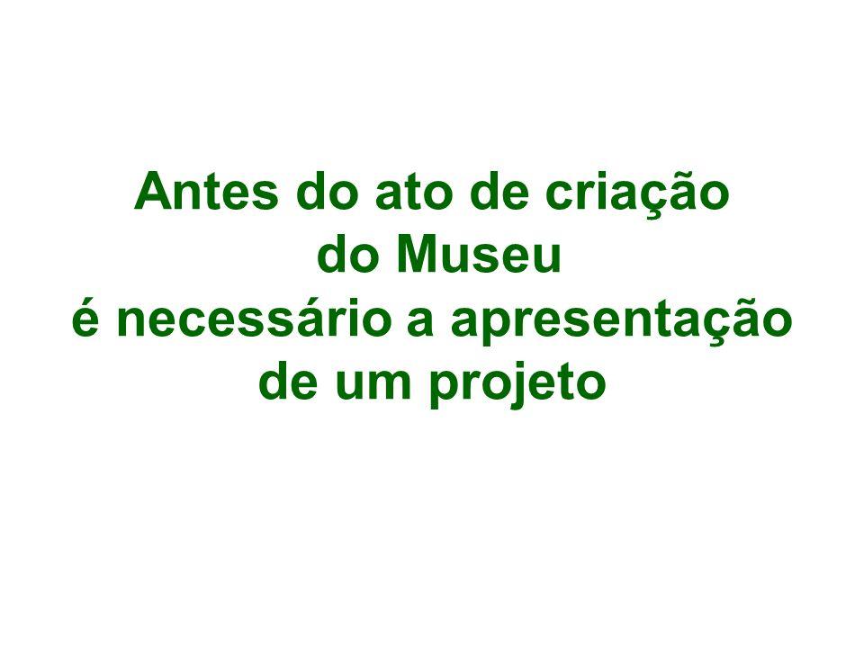 Antes do ato de criação do Museu é necessário a apresentação de um projeto