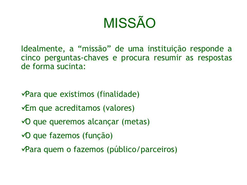 MISSÃO Idealmente, a missão de uma instituição responde a cinco perguntas-chaves e procura resumir as respostas de forma sucinta: Para que existimos (