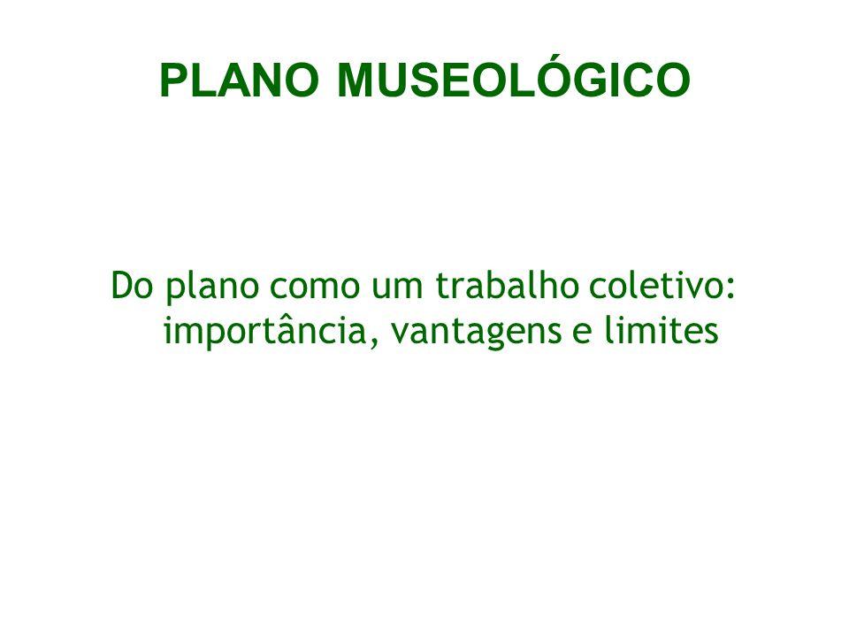 PLANO MUSEOLÓGICO Do plano como um trabalho coletivo: importância, vantagens e limites