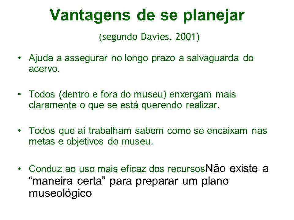 Vantagens de se planejar ( segundo Davies, 2001) Ajuda a assegurar no longo prazo a salvaguarda do acervo. Todos (dentro e fora do museu) enxergam mai