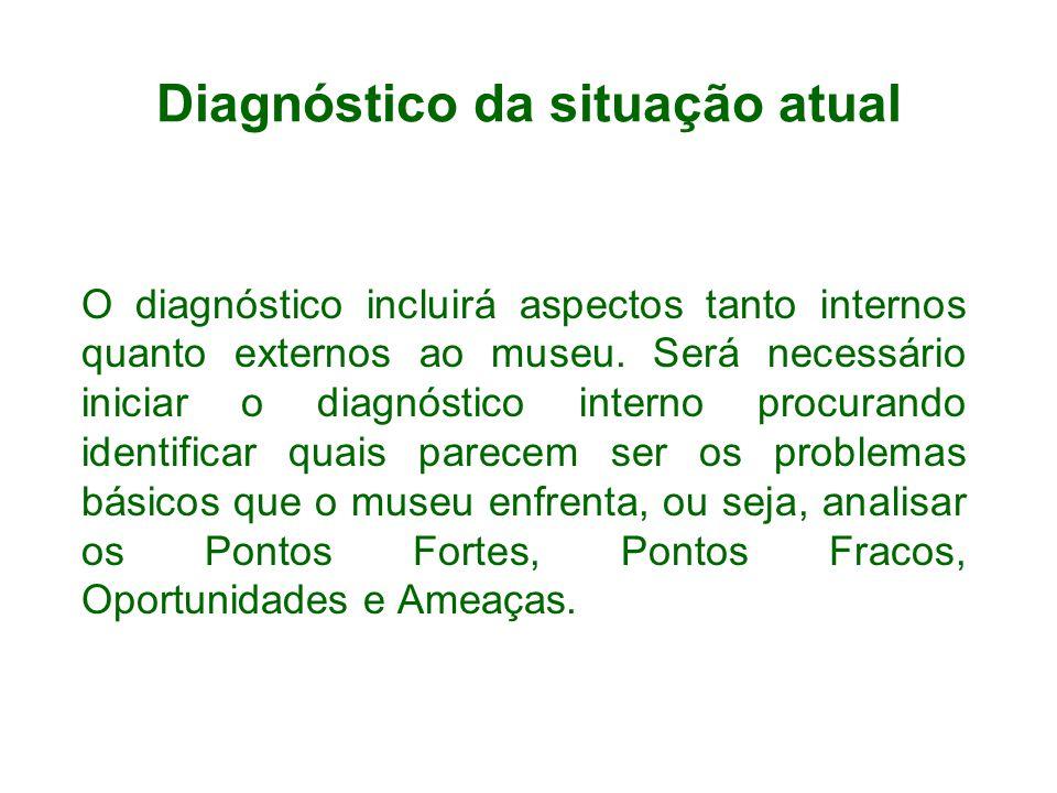 Diagnóstico da situação atual O diagnóstico incluirá aspectos tanto internos quanto externos ao museu. Será necessário iniciar o diagnóstico interno p