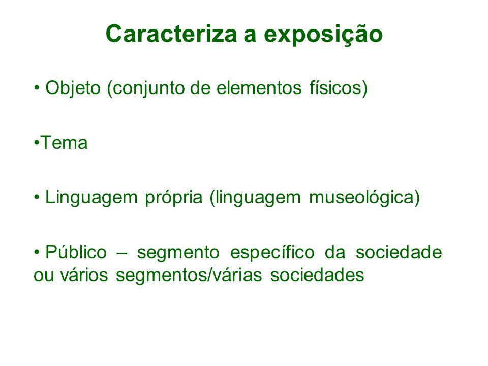 Caracteriza a exposição Objeto (conjunto de elementos físicos) Tema Linguagem própria (linguagem museológica) Público – segmento específico da socieda