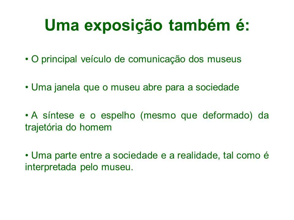 Uma exposição também é: O principal veículo de comunicação dos museus Uma janela que o museu abre para a sociedade A síntese e o espelho (mesmo que de