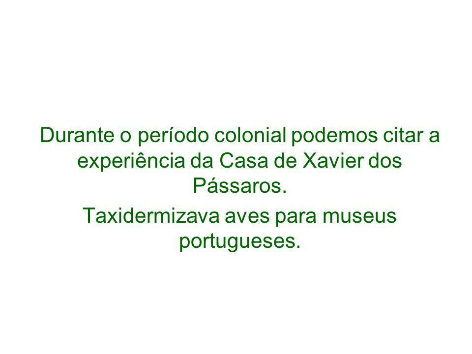 Durante o período colonial podemos citar a experiência da Casa de Xavier dos Pássaros. Taxidermizava aves para museus portugueses.