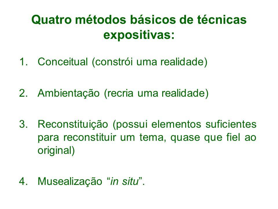 Quatro métodos básicos de técnicas expositivas: 1.Conceitual (constrói uma realidade) 2.Ambientação (recria uma realidade) 3.Reconstituição (possui elementos suficientes para reconstituir um tema, quase que fiel ao original) 4.Musealização in situ.