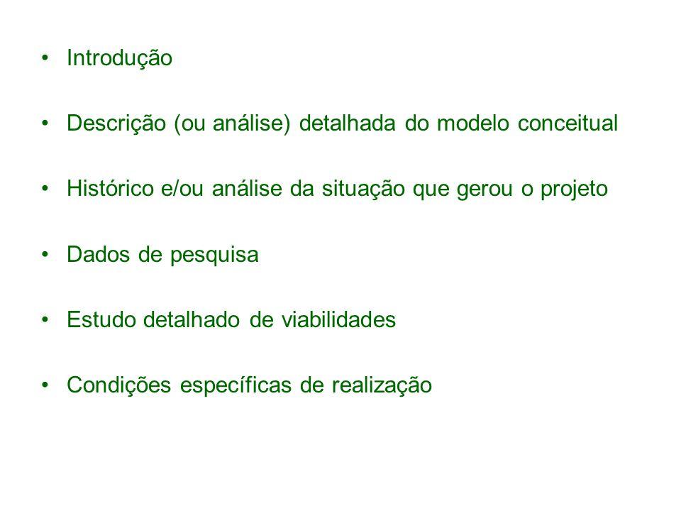 Introdução Descrição (ou análise) detalhada do modelo conceitual Histórico e/ou análise da situação que gerou o projeto Dados de pesquisa Estudo detalhado de viabilidades Condições específicas de realização