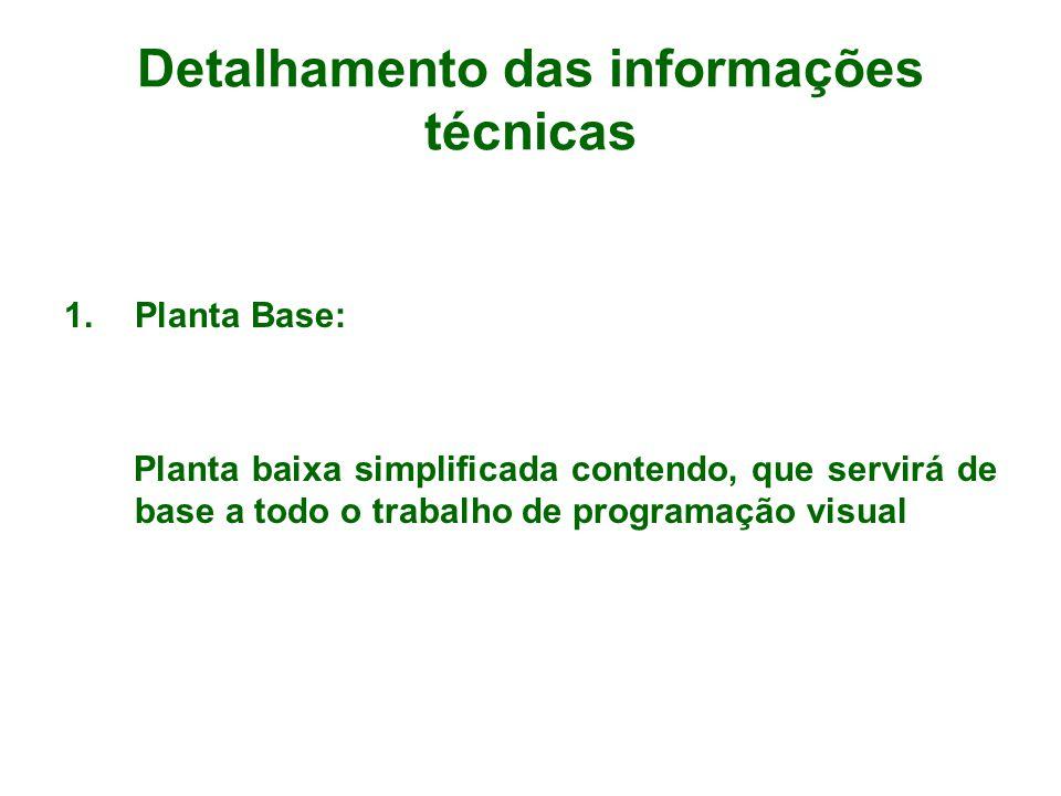 Detalhamento das informações técnicas 1.Planta Base: Planta baixa simplificada contendo, que servirá de base a todo o trabalho de programação visual