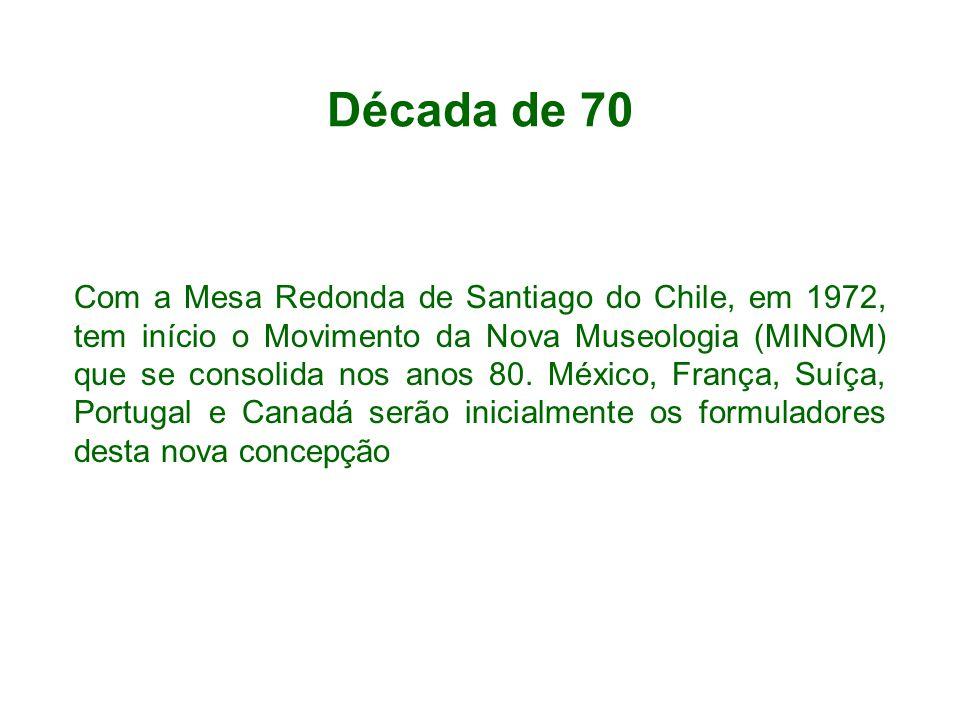 Década de 70 Com a Mesa Redonda de Santiago do Chile, em 1972, tem início o Movimento da Nova Museologia (MINOM) que se consolida nos anos 80.