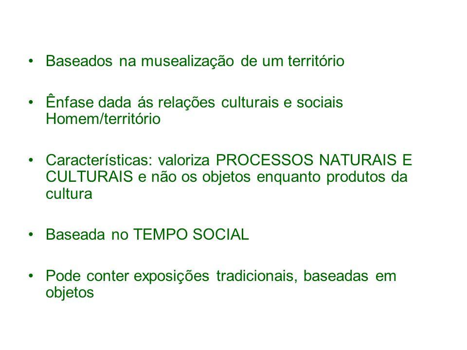 Baseados na musealização de um território Ênfase dada ás relações culturais e sociais Homem/território Características: valoriza PROCESSOS NATURAIS E