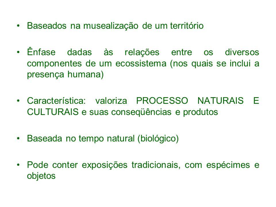 Baseados na musealização de um território Ênfase dadas às relações entre os diversos componentes de um ecossistema (nos quais se inclui a presença hum
