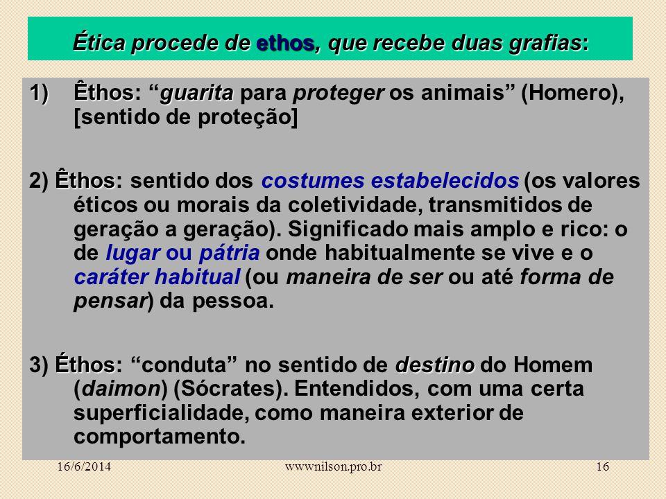 15 Definições de Ética Ética (ethike), ou tematização do ethos Ciência da moral; Filosofia moral; Estudo dos valores e das normas que regulam a condut