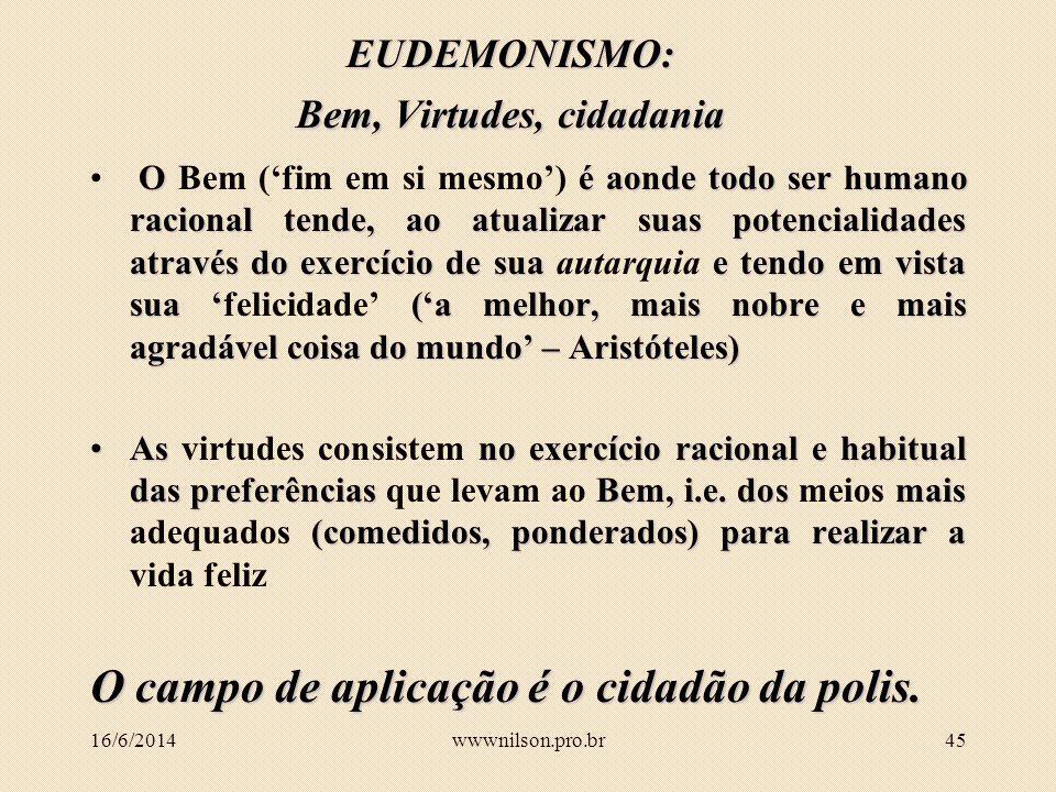 44 A CAIXA DE FERRAMENTAS DA ÉTICA FILOSÓFICA Eudemonismo Deontologia Conseqüencialismo Relativismo 16/6/2014wwwnilson.pro.br