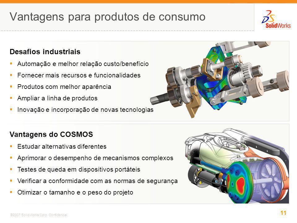 11 ©2007 SolidWorks Corp. Confidencial. Vantagens para produtos de consumo Desafios industriais Automação e melhor relação custo/benefício Fornecer ma