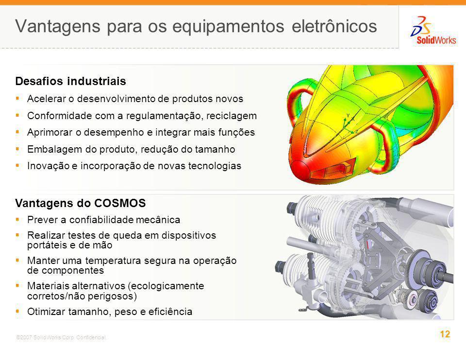 12 ©2007 SolidWorks Corp. Confidencial. Vantagens para os equipamentos eletrônicos Vantagens do COSMOS Prever a confiabilidade mecânica Realizar teste
