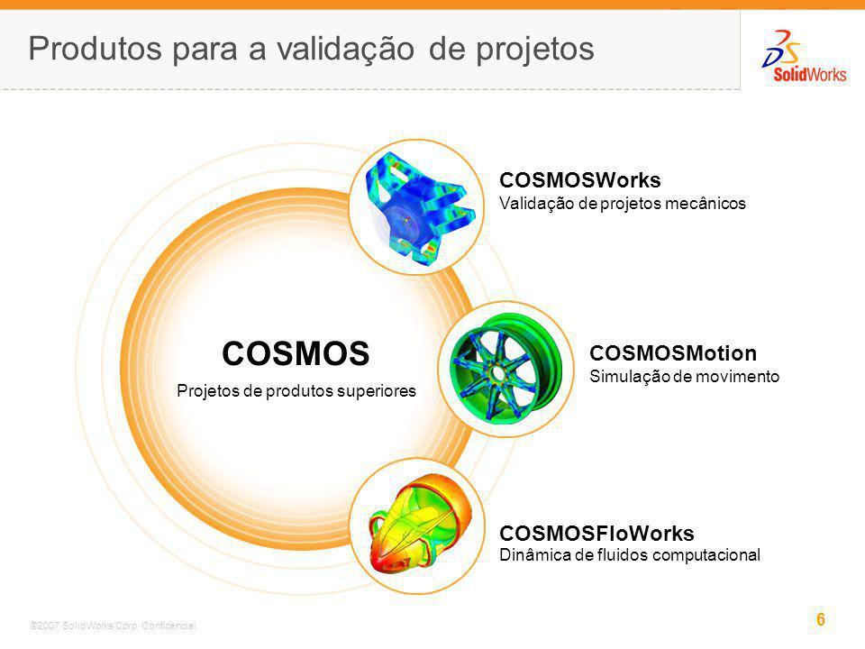 6 ©2007 SolidWorks Corp. Confidencial. Produtos para a validação de projetos COSMOS Projetos de produtos superiores COSMOSFloWorks Dinâmica de fluidos