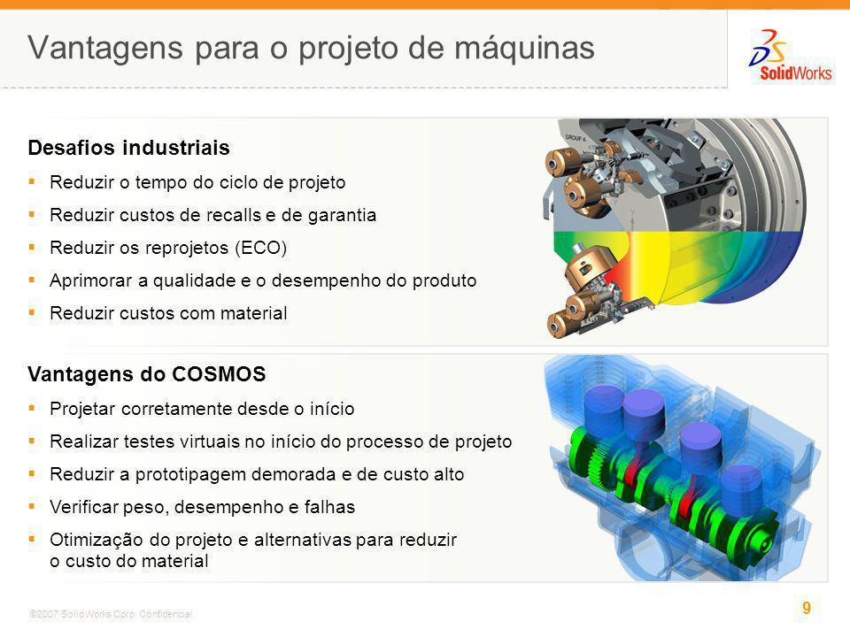 9 ©2007 SolidWorks Corp. Confidencial. Vantagens para o projeto de máquinas Desafios industriais Reduzir o tempo do ciclo de projeto Reduzir custos de