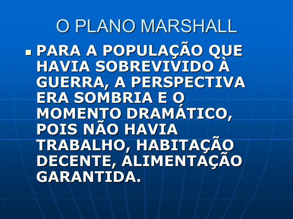 O PLANO MARSHALL PARA A POPULAÇÃO QUE HAVIA SOBREVIVIDO À GUERRA, A PERSPECTIVA ERA SOMBRIA E O MOMENTO DRAMÁTICO, POIS NÃO HAVIA TRABALHO, HABITAÇÃO