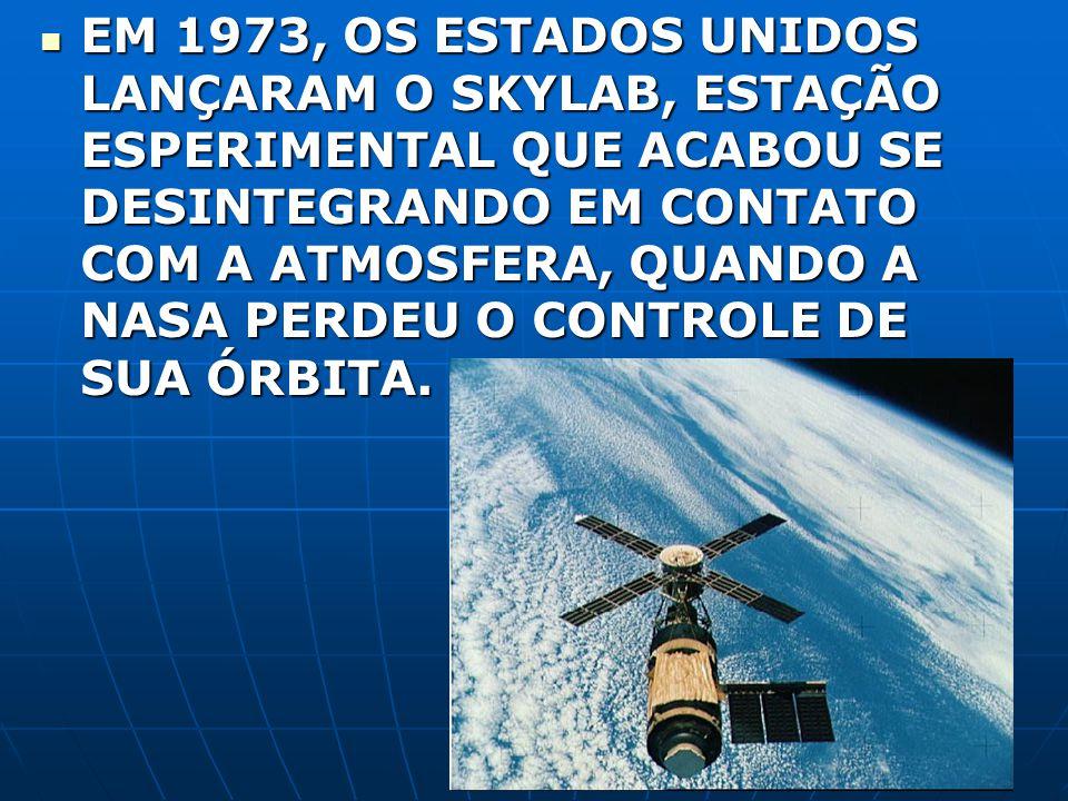 EM 1973, OS ESTADOS UNIDOS LANÇARAM O SKYLAB, ESTAÇÃO ESPERIMENTAL QUE ACABOU SE DESINTEGRANDO EM CONTATO COM A ATMOSFERA, QUANDO A NASA PERDEU O CONT