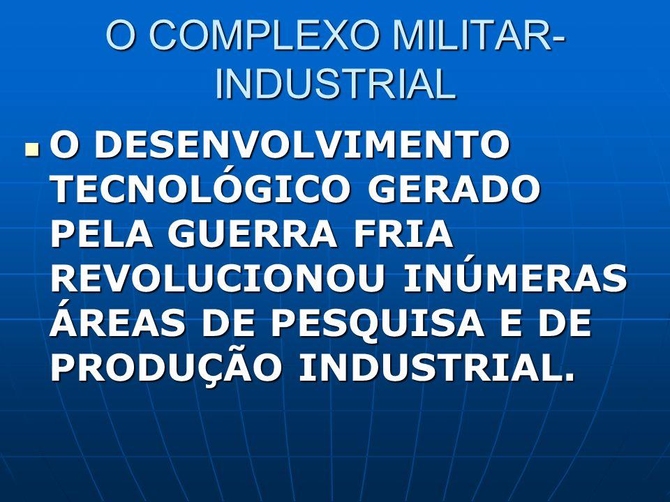 O COMPLEXO MILITAR- INDUSTRIAL O DESENVOLVIMENTO TECNOLÓGICO GERADO PELA GUERRA FRIA REVOLUCIONOU INÚMERAS ÁREAS DE PESQUISA E DE PRODUÇÃO INDUSTRIAL.