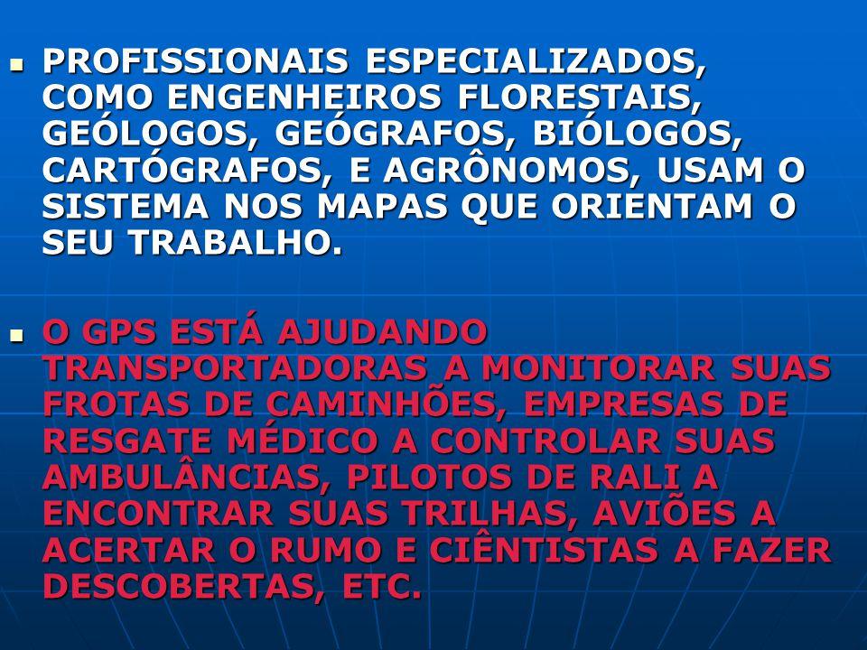 PROFISSIONAIS ESPECIALIZADOS, COMO ENGENHEIROS FLORESTAIS, GEÓLOGOS, GEÓGRAFOS, BIÓLOGOS, CARTÓGRAFOS, E AGRÔNOMOS, USAM O SISTEMA NOS MAPAS QUE ORIEN
