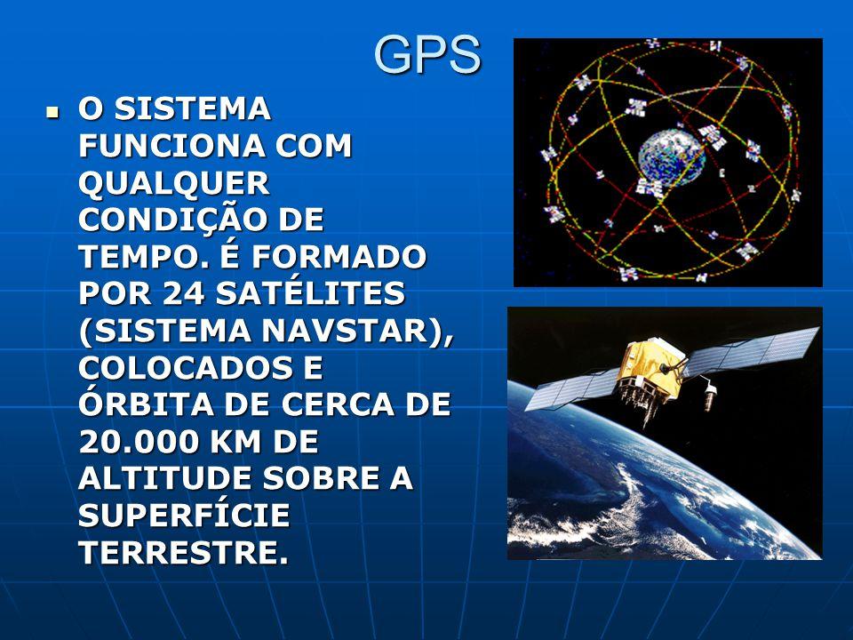 GPS O SISTEMA FUNCIONA COM QUALQUER CONDIÇÃO DE TEMPO. É FORMADO POR 24 SATÉLITES (SISTEMA NAVSTAR), COLOCADOS E ÓRBITA DE CERCA DE 20.000 KM DE ALTIT
