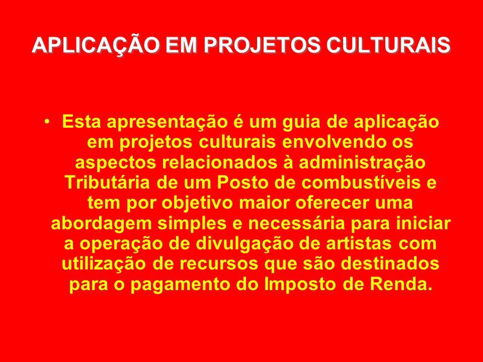 APLICAÇÃO EM PROJETOS CULTURAIS APLICAÇÃO EM PROJETOS CULTURAIS Esta apresentação é um guia de aplicação em projetos culturais envolvendo os aspectos