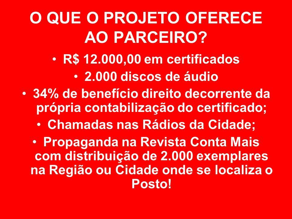 O QUE O PROJETO OFERECE AO PARCEIRO? R$ 12.000,00 em certificados 2.000 discos de áudio 34% de benefício direito decorrente da própria contabilização