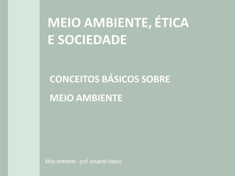MEIO AMBIENTE, ÉTICA E SOCIEDADE CONCEITOS BÁSICOS SOBRE MEIO AMBIENTE