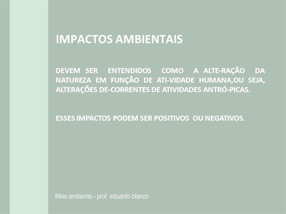 IMPACTOS AMBIENTAIS DEVEM SER ENTENDIDOS COMO A ALTE-RAÇÃO DA NATUREZA EM FUNÇÃO DE ATI-VIDADE HUMANA,OU SEJA, ALTERAÇÕES DE-CORRENTES DE ATIVIDADES A