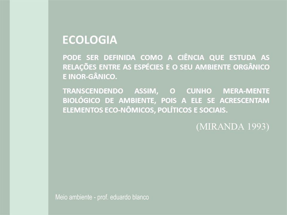 ECOLOGIA PODE SER DEFINIDA COMO A CIÊNCIA QUE ESTUDA AS RELAÇÕES ENTRE AS ESPÉCIES E O SEU AMBIENTE ORGÂNICO E INOR-GÂNICO. TRANSCENDENDO ASSIM, O CUN