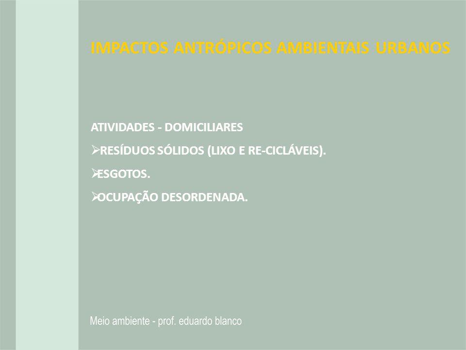 IMPACTOS ANTRÓPICOS AMBIENTAIS URBANOS ATIVIDADES - DOMICILIARES RESÍDUOS SÓLIDOS (LIXO E RE-CICLÁVEIS). ESGOTOS. OCUPAÇÃO DESORDENADA.
