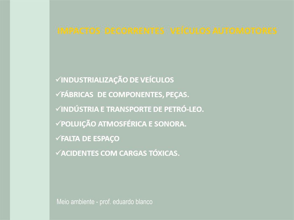 IMPACTOS DECORRENTES VEÍCULOS AUTOMOTORES INDUSTRIALIZAÇÃO DE VEÍCULOS FÁBRICAS DE COMPONENTES, PEÇAS. INDÚSTRIA E TRANSPORTE DE PETRÓ-LEO. POLUIÇÃO A