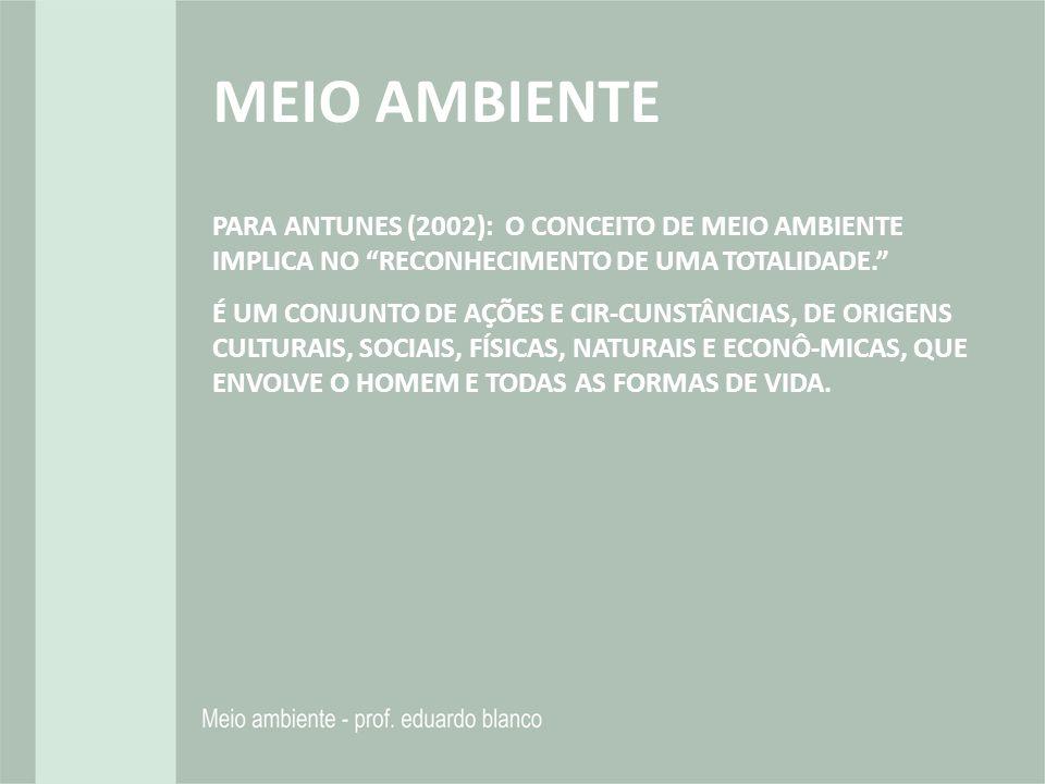 PARA ANTUNES (2002): O CONCEITO DE MEIO AMBIENTE IMPLICA NO RECONHECIMENTO DE UMA TOTALIDADE. É UM CONJUNTO DE AÇÕES E CIR-CUNSTÂNCIAS, DE ORIGENS CUL