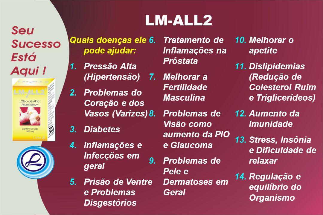 LM-ALL2 Quais doenças ele pode ajudar: 1.Pressão Alta (Hipertensão) 2.Problemas do Coração e dos Vasos (Varizes) 3.Diabetes 4.Inflamações e Infecções