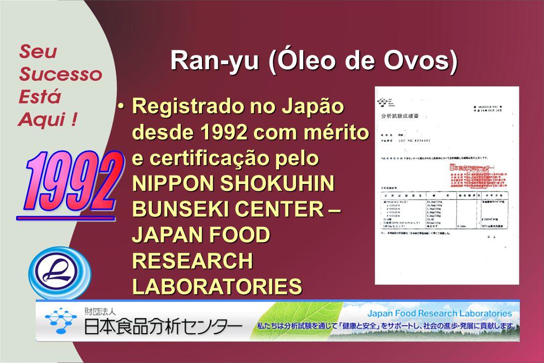 Ran-yu (Óleo de Ovos) Registrado no Japão desde 1992 com mérito e certificação pelo NIPPON SHOKUHIN BUNSEKI CENTER – JAPAN FOOD RESEARCH LABORATORIES
