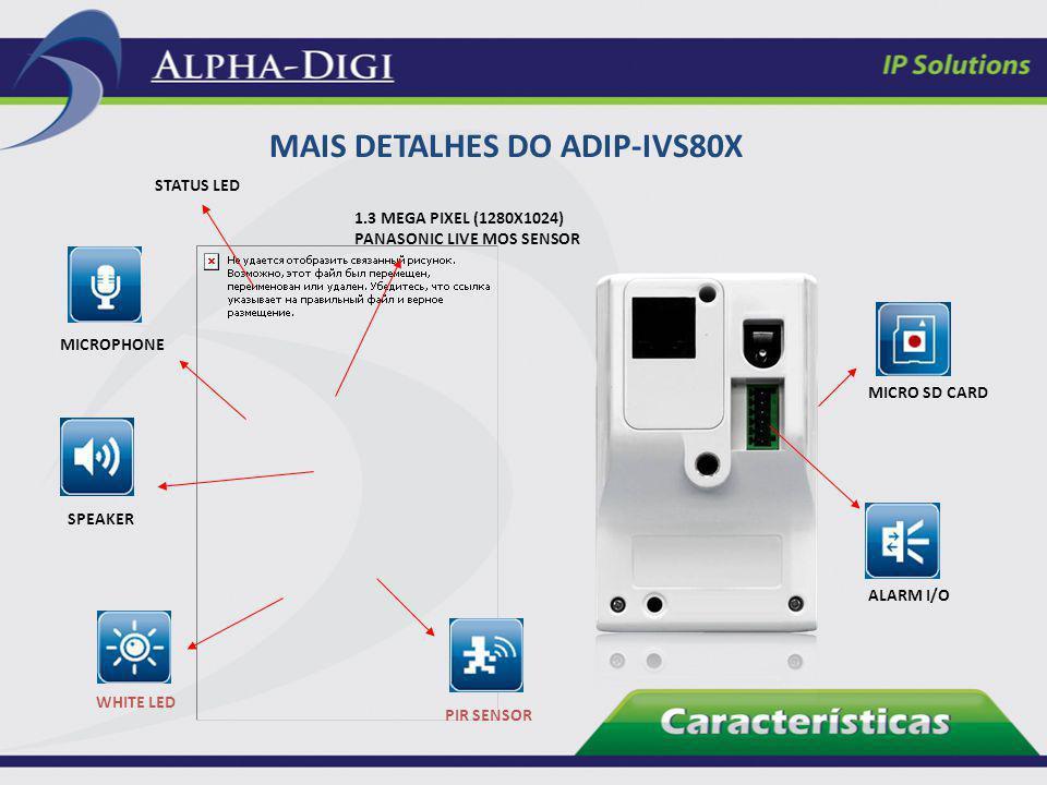 MAIS DETALHES DO ADIP-IVS80X STATUS LED 1.3 MEGA PIXEL (1280X1024) PANASONIC LIVE MOS SENSOR MICROPHONE SPEAKER WHITE LED PIR SENSOR MICRO SD CARD ALA