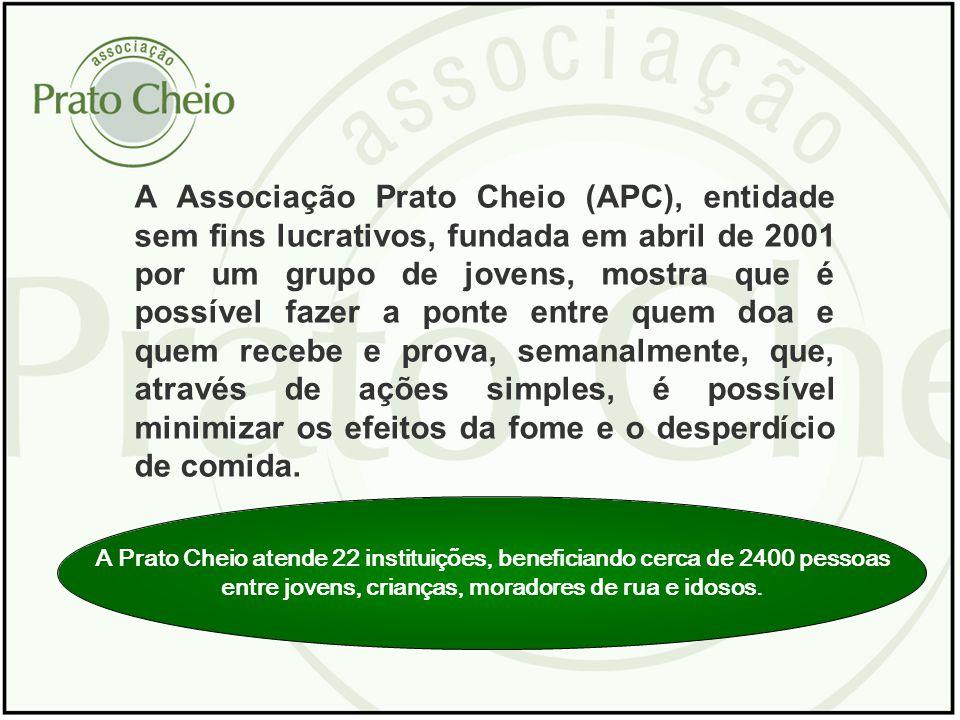 A Prato Cheio atende 22 instituições, beneficiando cerca de 2400 pessoas entre jovens, crianças, moradores de rua e idosos. A Associação Prato Cheio (