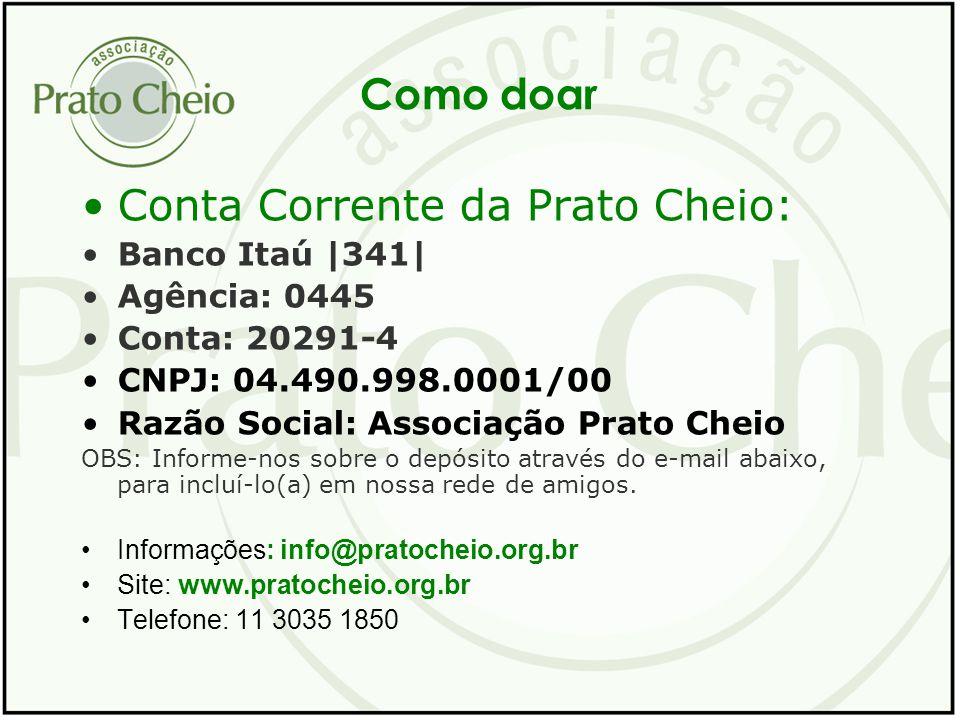Como doar Conta Corrente da Prato Cheio: Banco Itaú |341| Agência: 0445 Conta: 20291-4 CNPJ: 04.490.998.0001/00 Razão Social: Associação Prato Cheio O