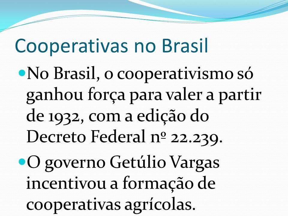 Cooperativas no Brasil No Brasil, o cooperativismo só ganhou força para valer a partir de 1932, com a edição do Decreto Federal nº 22.239.