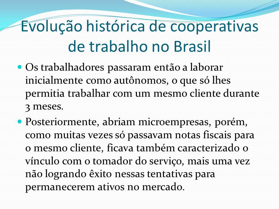 Evolução histórica de cooperativas de trabalho no Brasil Os trabalhadores passaram então a laborar inicialmente como autônomos, o que só lhes permitia